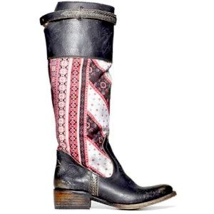 Freebird by Steven Sulli Distressed Riding Boot Size 10 Bandanna Patchwork Print
